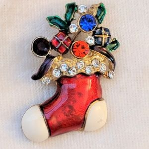 Jewelry - Vintage Christmas Stocking Brooch Pin Holiday